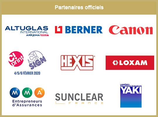 Logos des partenaires de la 13e éditions du concours ICONA D'OR : Altuglas, Berner, Bureau Veritas, C!Print, Hexis, Loxam, MMA, Sunclear, Yaki